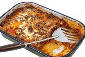 Vegetables Pie with Eggplant Leek Paprika and Minced Meat in the baking tray (Flip 2019)