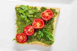 Vegetarian healthy food concept. Sandwich with greens and tomatoes. Top view (Flip 2019)