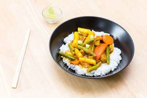 Vegetarian Thai Curry with Vegetables and Rice