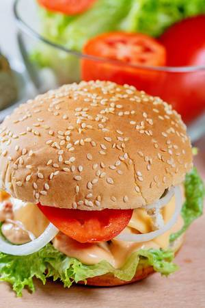 Veggie Burger with vegetables and sauce