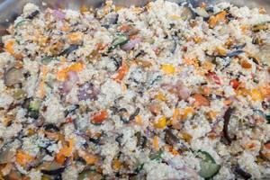 Veggie Risotto with peppers, onions, zucchini, eggplant, tomato