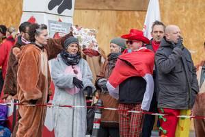 Verkleidete Zuschauer beobachten das Geschehen - Kölner Karneval 2018