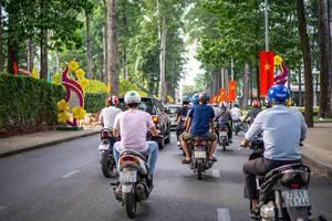Vietnamese Flags and Tet Decorations along a Street in Saigon, Vietnam