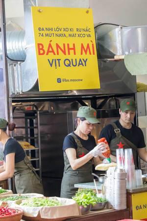 Vietnamesische Bánh mì Bude am Danilovsky Market in Moskau