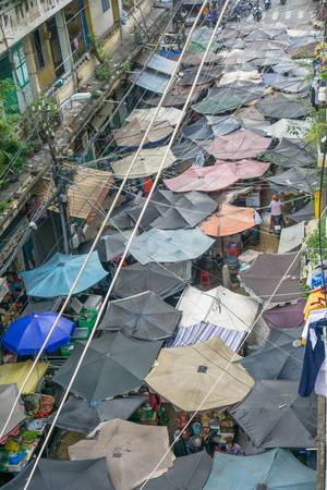 View of a local Market in Saigon from above