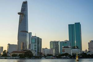 View of Bitexco Financial Tower and District 1  at Sunset in Ho Chi Minh City, Vietnam