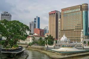 View of Masjid Jamek Mosque and Kolam Biru in Kuala Lumpur