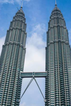 View of Petronas Twin Towers with Connecting Sky Bridge