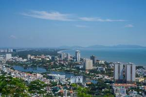 View of the Coast in Vung Tau with Mountains in the Background