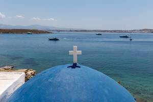 View over the blue dome with white cross of St. John