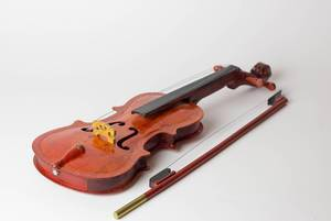 Violin on white table
