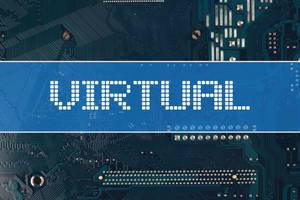 Virtual text over electronic circuit board background