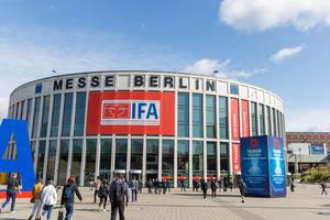 Visitors in front of the entrance of IFA exhibition hall near olympic stadium in Berlin