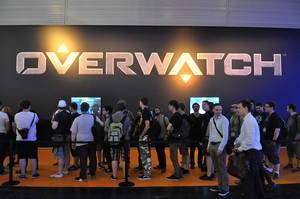 Visitors of the Gamescom fair in Cologne queueing for Overwatch
