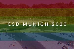 Visitors on the banks of Isar River next to Mariannenbrücke bridge near Praterinsel a Rainbowflag & picture title CSD Munich 2020