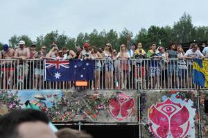 Visitors watching the show - Tomorrowland music festival 2014