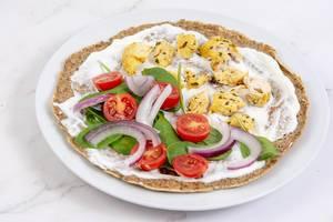 Vollkorn Tortilla mit Tomaten, Zwiebel und Hähnchen