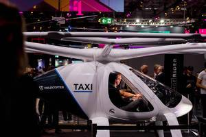 Volocopter flying taxi from the side at Digital X in Cologne