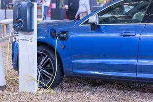 Volvo XC60 Plug-in Hybrid charging on an EV charging station