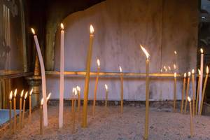 Votive candles at Church of St. Demetrios