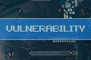 Vulnerability text over electronic circuit board background