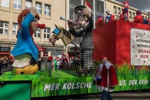 Wagen beim Rosenmontagszug - Autonome Republik Schäl Sick - Kölner Karneval 2018