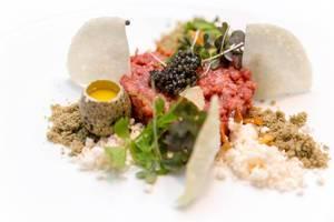 Wagyu dish at Chino Latino: Tatar, Yuzu-Kosho Aioli, Wasabi crumble, Fumèe, Oscietra Caviar