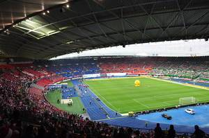 Waiting for the Austria-Germany game at the Ernst Happel Stadion in Vienna