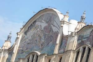 Wandbild auf einem Gebäude in Moskau