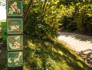 Warning signs in the park