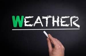 Weather text on blackboard
