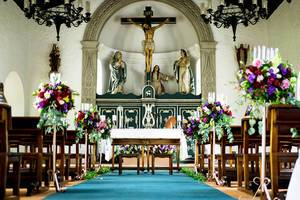 Wedding arragements in a catholic chapel