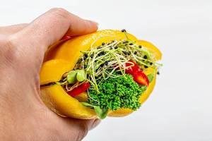 Weiblicher Hand hält ein veganes Sandwich aus verschiedenem Gemüse und Keimen