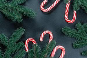 Weihnachts Hintergrund mit Tannenzweigen und rot-weißen Zuckerstangen vor schwarzem Hintergrund