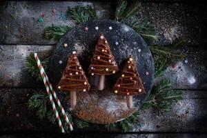 Weihnachts Schokoladenkuchen auf schwarzem Schieferteller mit grünen Tannenzweigen