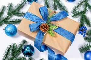 Weihnachtsgeschenk in Naturpapier mit blauem Band und Tannenzapfen