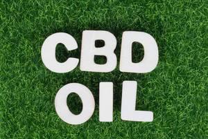 Weiße Holzbuchstaben bilden den Schriftzug CBD OIL (CBD Öl) auf grüner Wiese