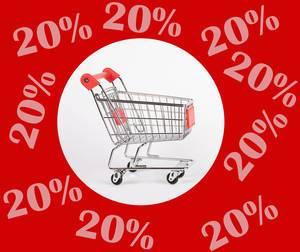 Weißer Kreis mit Einkaufswagen im Zentrum, rundherum rot mit Text 20% Rabatt