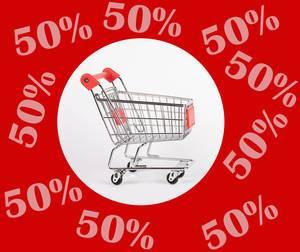 Weißer Kreis mit Einkaufswagen im Zentrum, rundherum rot mit Text 50% für halben Preis