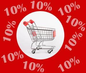 Weißer Kreis mit Einkaufswagen umgeben von Vermerk 10% Rabatt auf rotem Hintergrund