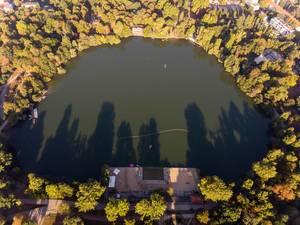 Weißer See in Berlin aus der Luft fotografiert