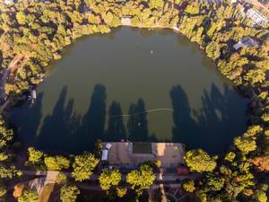 Weißer See in Berlin photographed from above