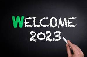 Welcome 2023 text on blackboard