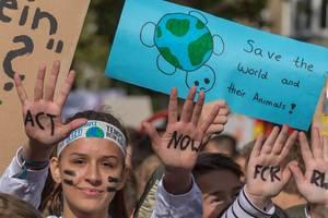 """Weltweite Fridays for Future Schülerbewegung führt den Klimastreik an und fordert """"Act now"""" - Handelt jetzt, um die Erde und ihre Tiere zu retten"""