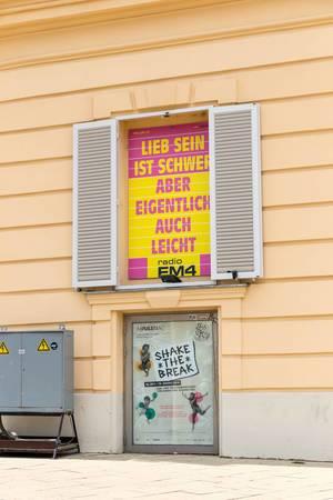 Werbung für das Wiener Radio FM4  und Tanzworkshops Shake the break