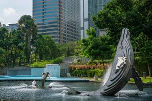 Whale and Dolphin Fountains at KLCC Park in Kuala Lumpur
