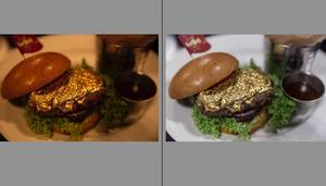 White Balance Example in Adobe Lightroom: Gold Burger too red (left) and normalized (right)