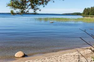 White beach in the bay of Kelvenne Island, with stones in the blue lake, reeds and Päijänne National Park, Finland, in the background