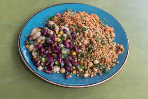 White beans and red beans, couscous, wheat, chickpeas