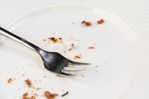 White empty Plate with piece of Cake Leftovers and Fork (Flip 2019)